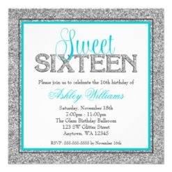 Glam Faux Glitter Silver Teal Blue Sweet 16 Square Paper Invitation Card