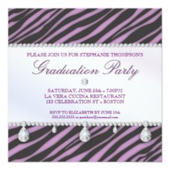Glamour Girl Zebra And Diamond Graduation Party Square Paper Invitation Card