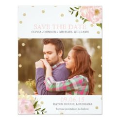 Glitter Peony Save The Date Announcements Invitation Card
