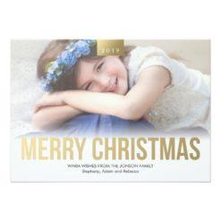 Gold Bold Merry Christmas Custom Photo Card Invitation Card