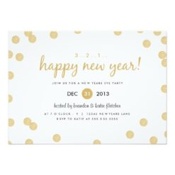 Gold Confetti By Origami Prints New Years Invitation Card