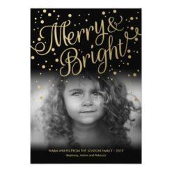 Gold Confetti Merry Bright Custom Photo Card Invitation Card