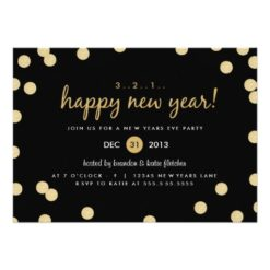 Gold Confetti New Years Eve Party Invitation Card