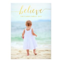 Gold Glam Believe Holiday Photo Card Invitation Card