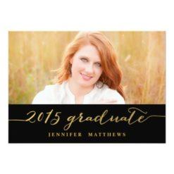 Gold Glamor Photo 2015 Graduation Party Invitation Card