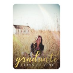 Gold Graduate Graduation Party Photo Card Invitation Card