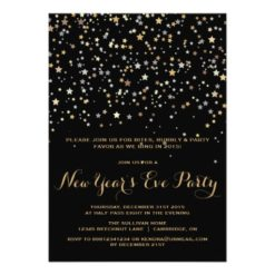 Gold Star Confetti New Year'S Eve Party Invitation Card