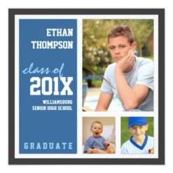 Graduation Announcement With 3 Photos In Blue Square Invitation Card