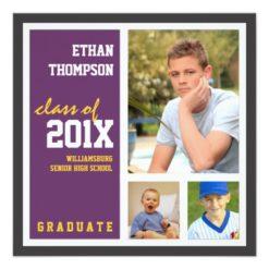 Graduation Announcement With 3 Photos Purple Gold Square Invitation Card