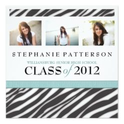 Graduation Glamour Girl Zebra Print With Aqua Square Paper Invitation Card