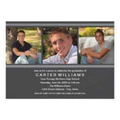 Graduation Party | Charcoal Classic Stripes Invitation Card
