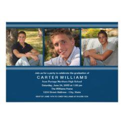Graduation Party | Navy Classic Stripes Invitation Card