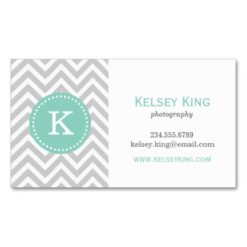 Gray And Aqua Chevron Custom Monogram Double-Sided Standard Business Cards (Pack Of 100)
