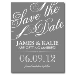 Gray And Pink Vintage Script Save The Date Postcard
