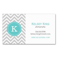 Gray And Turquoise Chevron Custom Monogram Double-Sided Standard Business Cards (Pack Of 100)