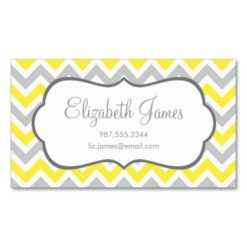 Gray And Yellow Colorful Chevron Stripes Double-Sided Standard Business Cards (Pack Of 100)