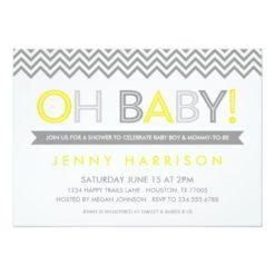 Gray And Yellow Modern Chevron Baby Shower Invitation Card