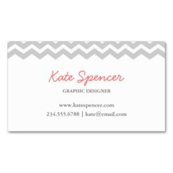 Gray Chevron And Polka Dot Double-Sided Standard Business Cards (Pack Of 100)