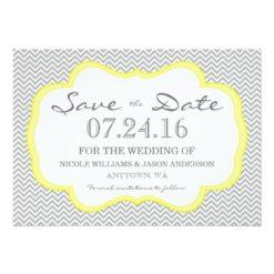 Gray Chevron Yellow Frame Save The Date Invitation Card