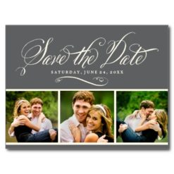 Gray Photo Save The Date   Calligraphy Script Postcard