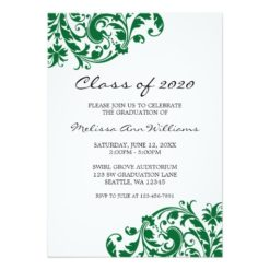 Green And Black Swirl Graduation Announcement Invitation Card
