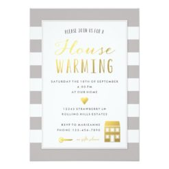 Grey Stripes - Gold House Warming Party Invitation Card