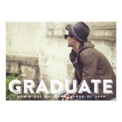 Grunge Typography Photo Graduation Invitation Card