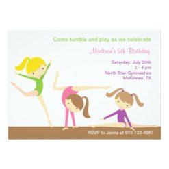 Gymnastics Girls Birthday Party Invitation Card