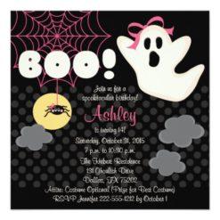 Halloween Birthday Pink Ghost Invitations Square Invitation Card