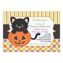 Halloween First Birthday Party Cute Pumpkin Cat Invitation Card