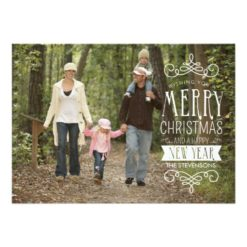 Hand Sketched Banner Holiday Photo Greeting Card Invitation Card