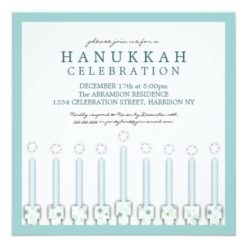 Hanukkah Menorah With Candles In Polka Dot Square Paper Invitation Card
