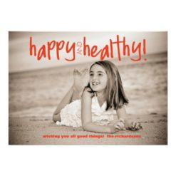 Happy And Healthy Red With Back Photo Invitation Card
