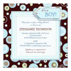 Happy Blue Dots Boy Baby Shower Invitation Square Invitation Card