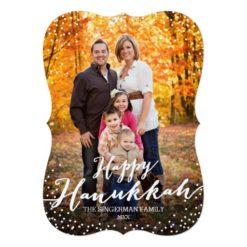 Happy Hanukkah Script Photo Card Invitation Card