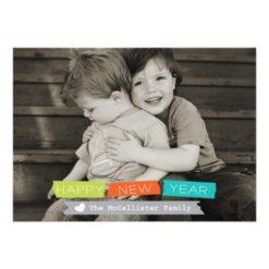 Happy New Year Holiday Photo Card Full Bleed Photo Invitation Card