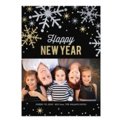 Happy New Year Photo Cards   Silver Gold Sparkle Invitation Card