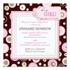 Happy Pink Dots Girl Baby Shower Invitation Square Invitation Card