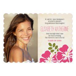 Hawaiian Graduation Announcements Invitations Pink Invitation Card