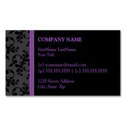 Hip Black Velvet Business Cards (Purple)