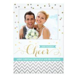 Holiday Cheer Photo Cards | Confetti And Chevron Invitation Card