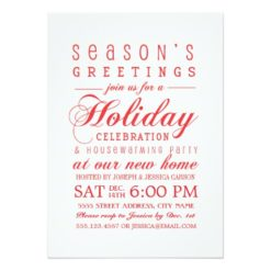 Holiday Greetings Housewarming Party Invitation Card