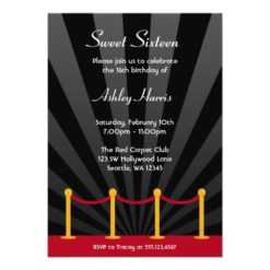 Hollywood Red Carpet Sweet 16 Birthday Party Invitation Card