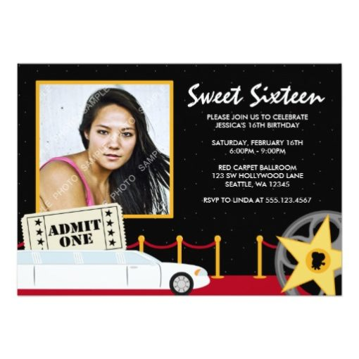 Hollywood Red Carpet Sweet 16 Photo Invitation Card