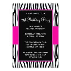 Hot Pink Zebra 21St Birthday Party Invitation Card