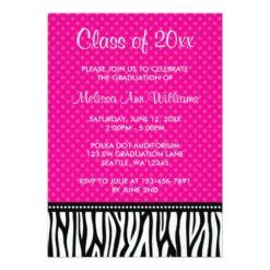 Hot Pink Zebra Polka Graduation Announcement Invitation Card