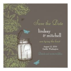 Hydrangea And Mason Jar Save The Date Brown Lime Square Paper Invitation Card