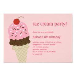 Ice Cream Shoppe Birthday Invitation - Pink Invitation Card