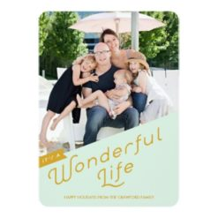 It'S A Wonderful Life Holiday Greeting Card / Gold Invitation Card