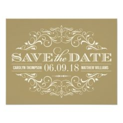 Ivory And Gold Save The Date | Swirl And Flourish Paper Invitation Card